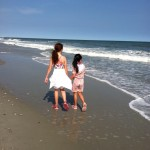 Sisters at the beach, Gabrielle and Gracie