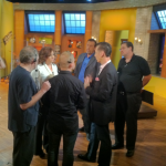 Pre-show production meeting with TaRanda Greene and Gene McDonald